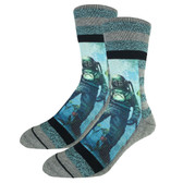 Men's Crew Socks Underwater Ocean Scuba Diver Active Footwear