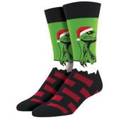 Men's Crew Socks Christmas Holiday Raptor Claus Dinosaur Green
