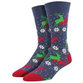 Men's Crew Socks Christmas Holiday Naughty Reindeer Denim Blue