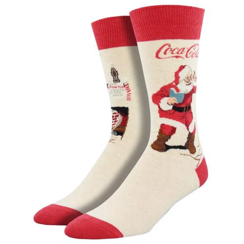 Men's Crew Socks Coca Cola Classic Coke Santa Claus Heather Ivory