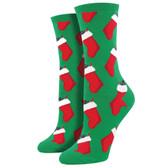 Women's Crew Socks Christmas Coal Holiday Footwear Green