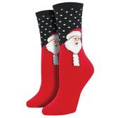 Women's Crew Socks Christmas Holiday Jolly Santa Claus