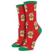 Women's Crew Socks Christmas Holiday Owls Ready For Winter Red