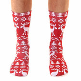 Unisex Men's or Women's Crew Socks Holiday Christmas Ugly Sweater Moose