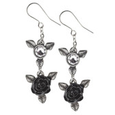 Alchemy Gothic Ring 'O Roses Dangle Earrings Pewter Jewelry E398