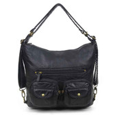 Convertible Crossbody Backpack Purse Black Vegan Leather Shoulder Bag