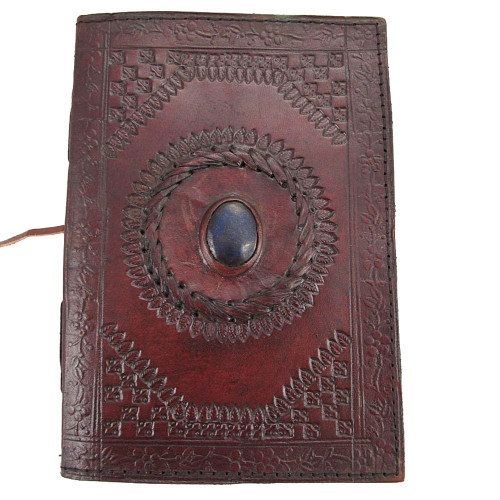 blue stone eye leather journal book diary notebook purple leopard