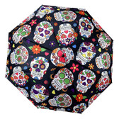 Sugar Skull Day of the Dead Telescopic Umbrella with Cover