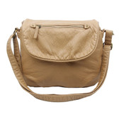 The Bonnie Saddle Crossbody Shoulder Bag Purse Sand Tan