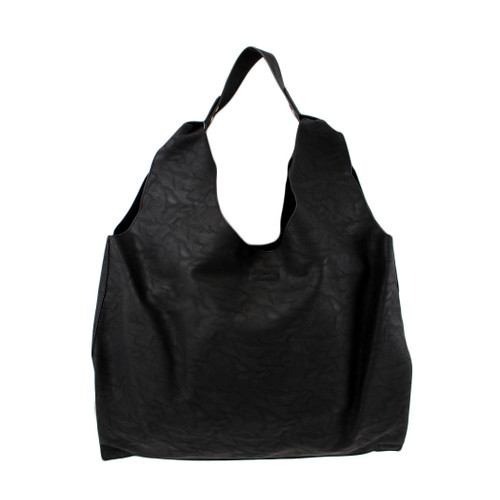 2 in 1 Black Faux Leather Hobo Purse with Medium Shoulder Bag