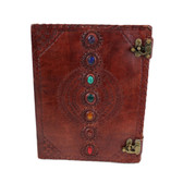 Seven Chakra Stone Embossed Leather Journal Book Diary Sketch Notebook