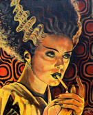 Looking For Monster Love by Mike Bell Canvas Giclee Tattoo Art Print Bride of Frankenstein