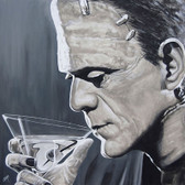 Contemplative Cocktail by Mike Bell Canvas Giclee Tattoo Art Print Frankenstein Monster