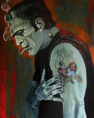 Broken Hearted by Mike Bell Canvas Giclee Tattoo Art Print Frankenstein Monster