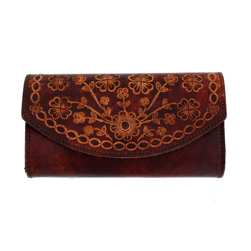 Women's Brown Leather Wallet Checkbook Style with Embossed Flowers