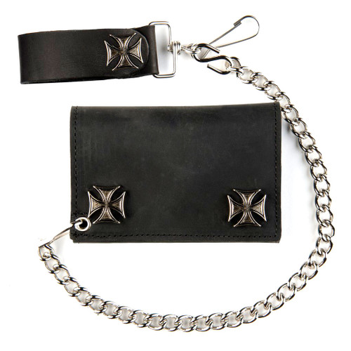 Men's Wallet Black Leather Biker Chain Trifold Silver Metal Iron Crosses