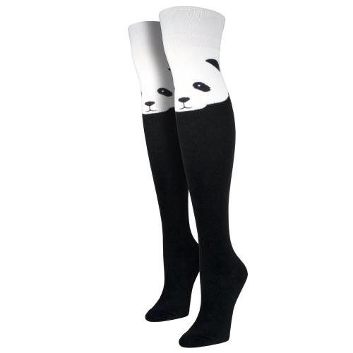 Women's Over The Knee Socks Panda Bear Face Black