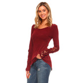 Burgundy Women's Thermal Mineral Washed Long Sleeve Shirt with Crochet Lace Detail