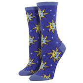 Socksmith Women's Crew Socks Celestial Sun Moon and Stars Midnight Blue