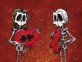 We Just Fit by David Lozeau Canvas Giclee Tattoo Art Print Skeleton Puzzle Piece Heart