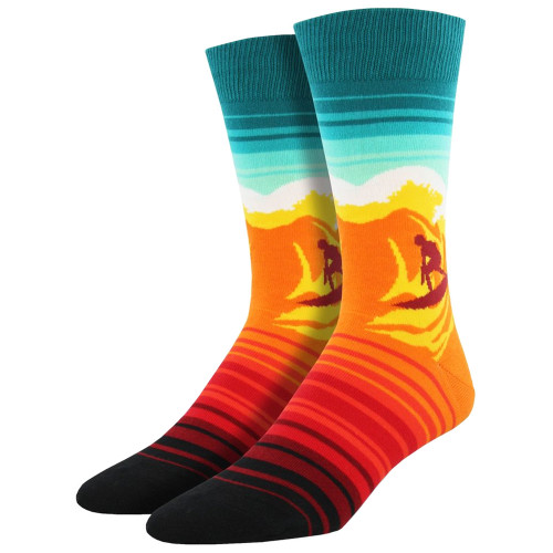 Socksmith Men's Crew Socks Catch A Wave Surfer Orange