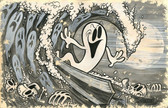 Beyond The Watery Grave by Shawn Dickinson Canvas Giclee Tattoo Art Print Ghost Surfer