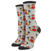 Women's Crew Socks Claddagh Love Loyalty Friendship Hearts Gray