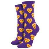 Women's Crew Socks Love You To Pizzas Purple