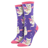 Women's Crew Socks Purrfect Angel Kitty Cats Purple