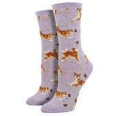 Women's Crew Socks Shiba Inu Japanese Puppy Dogs Heather Purple