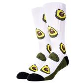 Oooh Yeah Men's Crew Socks Avocado Life White