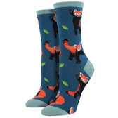 Women's Crew Socks Red Panda Raccoon Bear Steel Blue