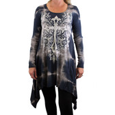 Women's Special Dye Dress Tunic Long Sleeve Cross and Floral Detail Design