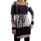Women's Vocal Tie Dye Tunic Top Long Sleeve with Floral Detail Design