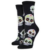 Women's Crew Socks Big Muertos Sugar Skulls Black