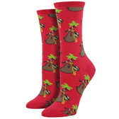 Women's Crew Socks Sloth Bling Raspberry