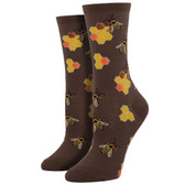 Women's Crew Socks Busy Bees Brown