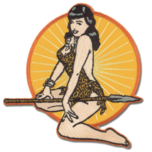 Bettie Page Jungle Pin Up Girl Patch Embroidered Iron On Applique