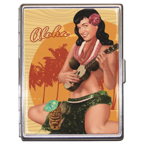 Bettie Page Aloha Tiki ID Case Business Card Holder Wallet