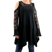 Women's Plus Size Cold Shoulder Charcoal Black Dress with Lace Detail by Vocal