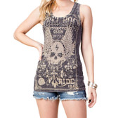 Women's Mineral Washed Black Tank Top with Skull and Wings Detail