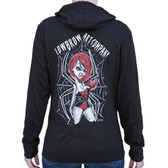 Spider Girl by Candy Women's Black Light Weight Hoodie Jacket Sexy Pin Up