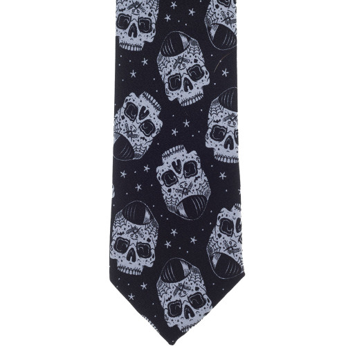 Kustom Kreeps Tattooed Skull Day of the Dead Graphic Men's Tie