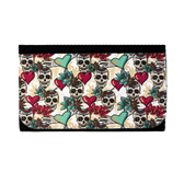 Women's Wallet Day of the Dead Small Skulls with Hearts Green