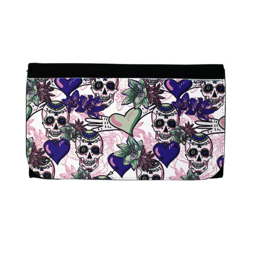 Women's Wallet Day of the Dead Skulls with Hearts Purple