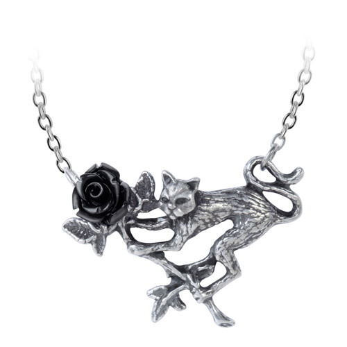Alchemy Gothic Rosenkatze Black Rose Cat Pendant Necklace Pewter Jewelry P838