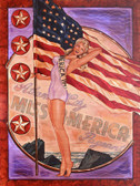 Miss America by Mike Bell Canvas Giclee Tattoo Art Print Beauty Pageant Pin Up