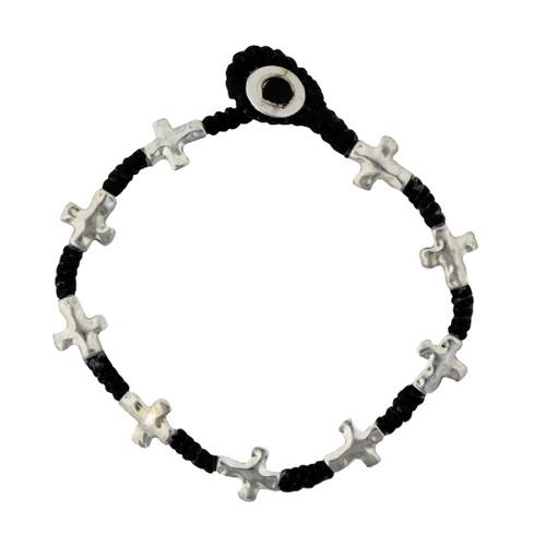 Silver Alloy Cross Bracelet Wrist Jewelry Waxed Linen Wristband