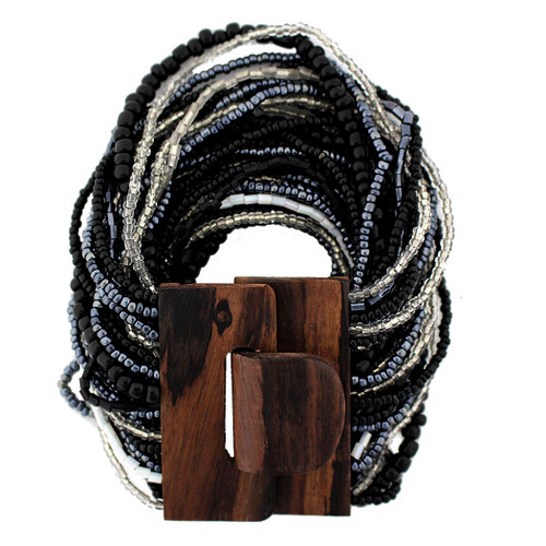 Black Pewter Clear White Bali Beaded Stretch Bracelet Glass Beads Wood Buckle
