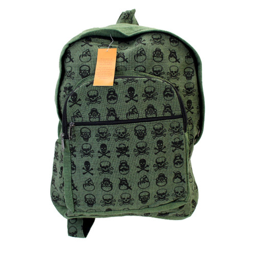 Green Cotton Skull and Crossbones Backpack